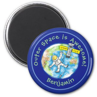 Fun astronaut with satellite over earth cartoon magnet