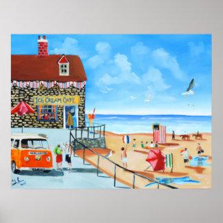 Fun at the seaside British seaside panting Poster