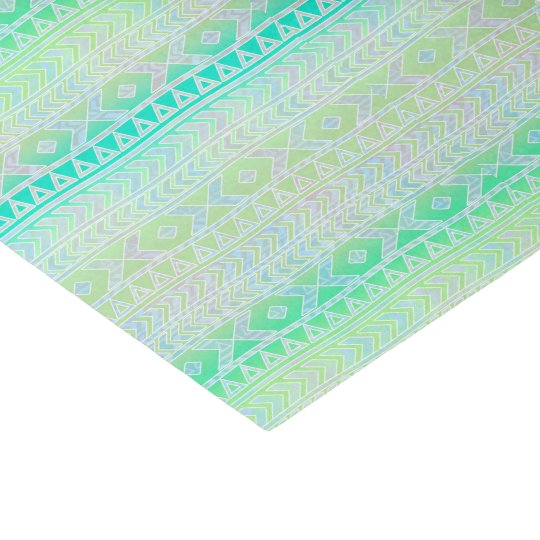Fun Aztec Influenced Pattern Green Turquoise Tissue Paper