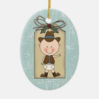 Fun Baby Boy Toddler Child Cowboy Gift Tag Christmas Ornament