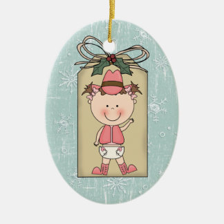 Fun Baby Girl Toddler Child Cowgirl Gift Tag Christmas Ornament