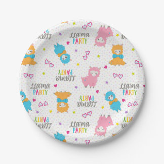 Fun baby llama birthday party serving plate