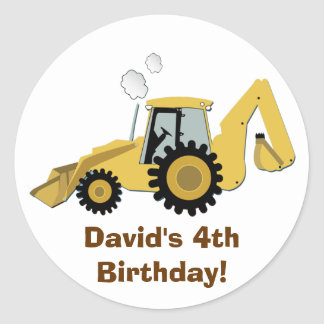Fun Backhoe Construction Personalized Sticker
