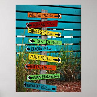 Fun Backyard Travel Signs Poster