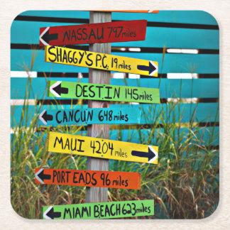 Fun Backyard Travel Signs Square Paper Coaster