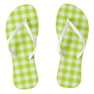 Fun Basic Neon Lime Green Gingham Flip Flops