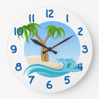 Fun Beach and Palm Trees Tropical Large Clock