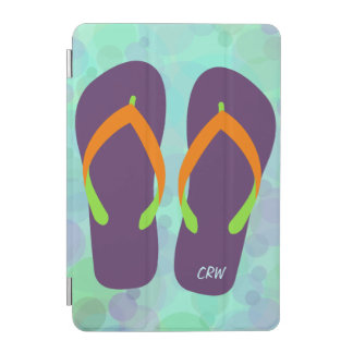 Fun Beach Bubbles and Flip Flops Optional Initials iPad Mini Cover