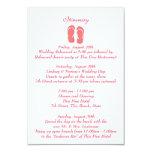 Fun Beach Flip Flops Pink Wedding Intinerary 9 Cm X 13 Cm Invitation Card