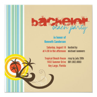 Fun Beach Holiday Bachelor Guys Party Invite