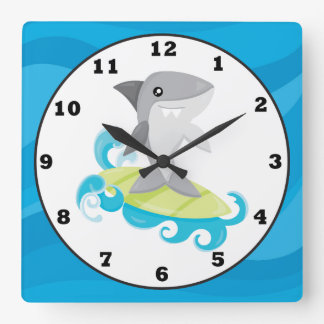 Fun Beach shark home decor wall clock