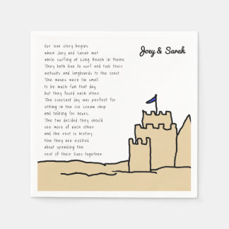 Fun Beach Wedding Sand Castle Love Story Napkin Disposable Napkin