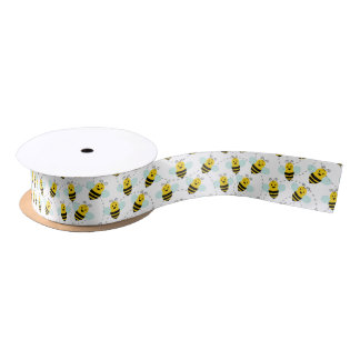 Fun bee pattern party tiled ribbon satin ribbon