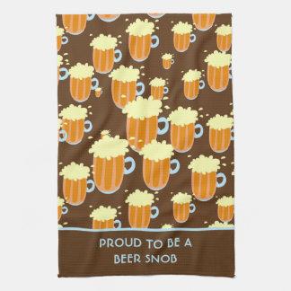 Fun Beer Snob Pattern on Brown and Blue Tea Towel