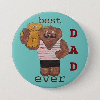 Fun Best Dad Ever Circus Strongman Daddy Bear 7.5 Cm Round Badge