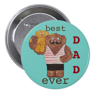 Fun Best Dad Ever Circus Strongman Daddy Bear 7.5 Cm Round Badge