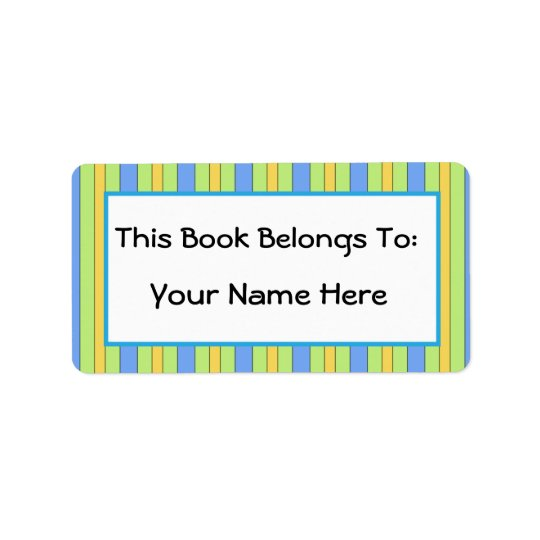 Fun Bibliophile Striped Bookplate Sticker Gift Address Label