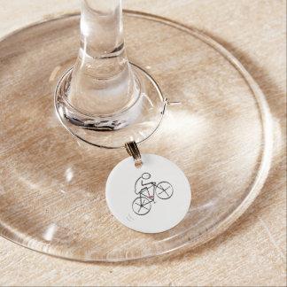 Fun Bicyclist Design Wine Charm