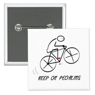 """Fun Bicyclist Design with """"Keep On Pedaling"""" text 15 Cm Square Badge"""