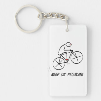"""Fun Bicyclist Design with """"Keep On Pedaling"""" text Single-Sided Rectangular Acrylic Key Ring"""