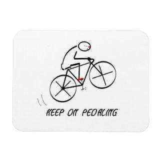 "Fun Bicyclist Design with ""Keep On Pedaling"" text Rectangular Photo Magnet"