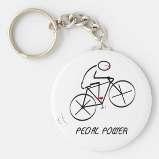 "Fun Bicyclist Design with ""Pedal Power"" text Basic Round Button Key Ring"