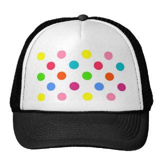 Fun big polka dots red yellow green pink orange trucker hat