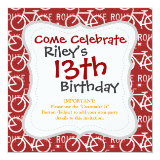 Fun Bike Route Fixie Bicycle Cyclist Pattern Red 13 Cm X 13 Cm Square Invitation Card