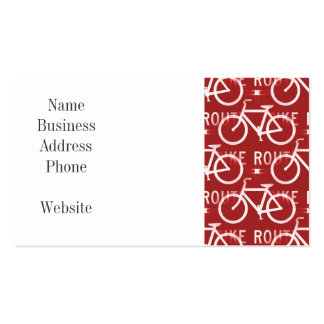 Fun Bike Route Fixie Bicycle Cyclist Pattern Red Pack Of Standard Business Cards