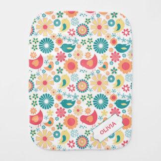 Fun Bird Floral burp cloth, girl baby shower gift Burp Cloth