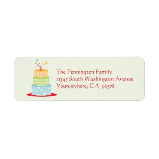 Fun birthday cake return address envelope labels