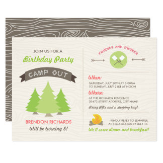 Fun Birthday Camp Out Invitation