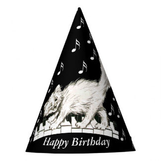 Fun Birthday Cat on Piano Keys Music Notes Party Hat