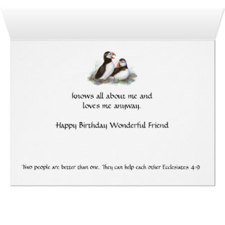Fun Birthday Friend - Puffin Bird & Scripture Greeting Card