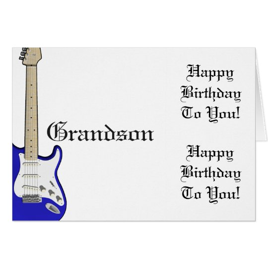 Fun, birthday greeting for grandson, blue guitar. card