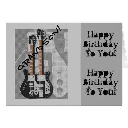 Fun, birthday greeting for grandson, guitar. card