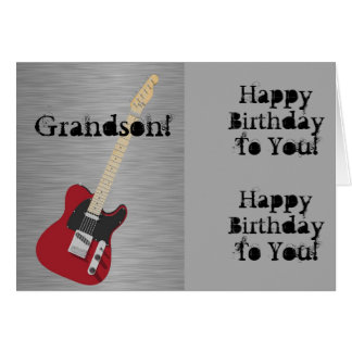 Fun, birthday greeting for grandson, red guitar. card