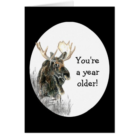 Fun Birthday Moose Watercolor Animal Humour Card