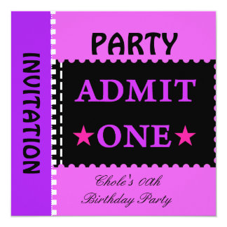 Fun Birthday Party Girls Teen Tweens Purple Card