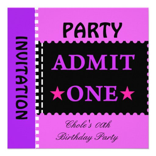 Fun Birthday Party Girls Teen Tweens Purple Announcements