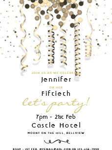 Fun Birthday Party Invitation Confetti White Gold