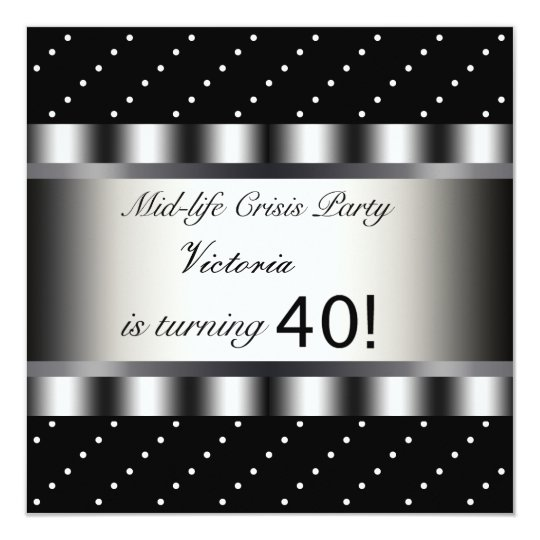 Fun Black 40th Birthday Party Invitation