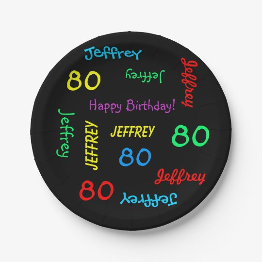 Fun Black, 80th Birthday Party, Repeating Names Paper