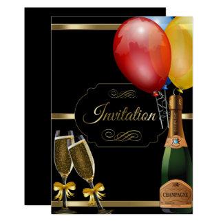 Fun Black and Gold Party Celebration Invitation