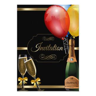 Fun Black and Gold Party Celebration Template 13 Cm X 18 Cm Invitation Card