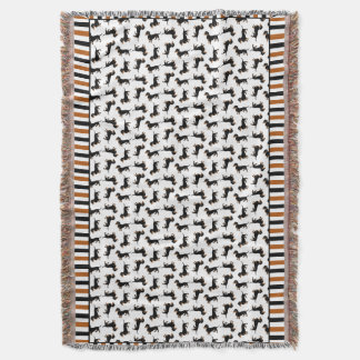 Fun Black and Tan Dachshunds Doxies Pattern Throw Blanket