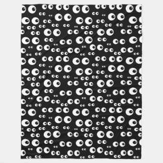 Fun Black and White Eyeballs Design Fleece Blanket