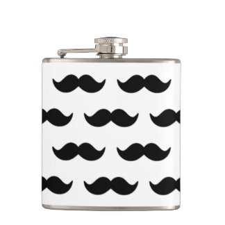 Fun Black and White Mustache Pattern 1 Hip Flask