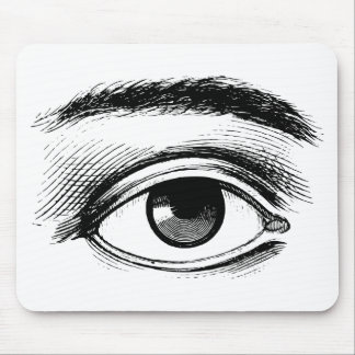Fun Black and White Vintage Eye Illustration Mouse Mat