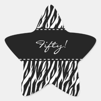 Fun Black and White Zebra 50th Birthday Star Sticker